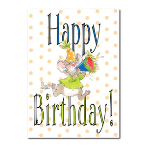 Herkimer loves to celebrate, especially on birthdays in this Happy Birthday greeting card from Suzy's Zoo.