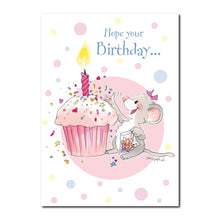 Midge Mouse expresses herself with cupcake sprinkles in this Happy Birthday greeting card from Suzy's Zoo.