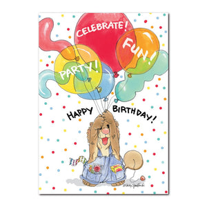 Suzys Zoo colorful happy birthday greeting card featuring Ollie Marmot with his hands full of big colorful party ballons.