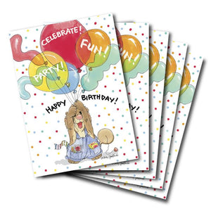 Suzys Zoo happy birthday greeting card featuring Ollie Marmot with his hands full of big colorful party ballons, set of six.