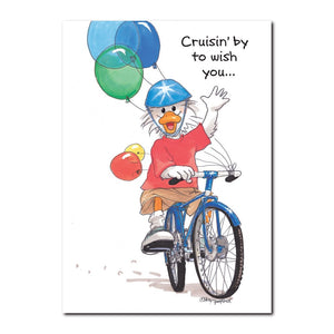 Bicycles are popular in Duckport - Jack Quacker is proud of his shiny racer in this Birthday greeting card from Suzy's Zoo.