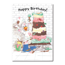 Jack Quacker took over the whole bakery to make this huge cake in this Birthday greeting card from Suzy's Zoo.