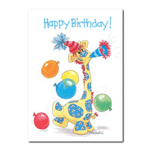 Patches giraffe kicks up the birthday balloons as he toots on his horn in this Suzy's Zoo happy birthday greeting card.