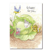 This little baby bunny arrived one morning, tucked snugly into a cabbage bed in this Suzy's Zoo baby congrats card.