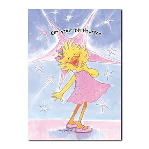 Suzy Ducken truly shines as the star of Duckport on this Happy Birthday greeting card from Suzy's Zoo.