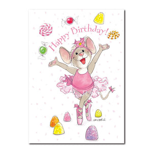 Tilly twinkles on her toes in the famous Candy Dance in this Happy Birthday greeting card from Suzy's Zoo.