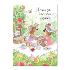 The lady bears of Duckport enjoy having tea out in the rose garden in this Thank You greeting card from Suzy's Zoo.