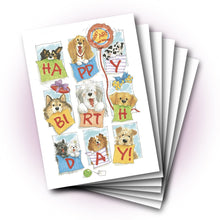 Dogs Window Birthday Greeting Card
