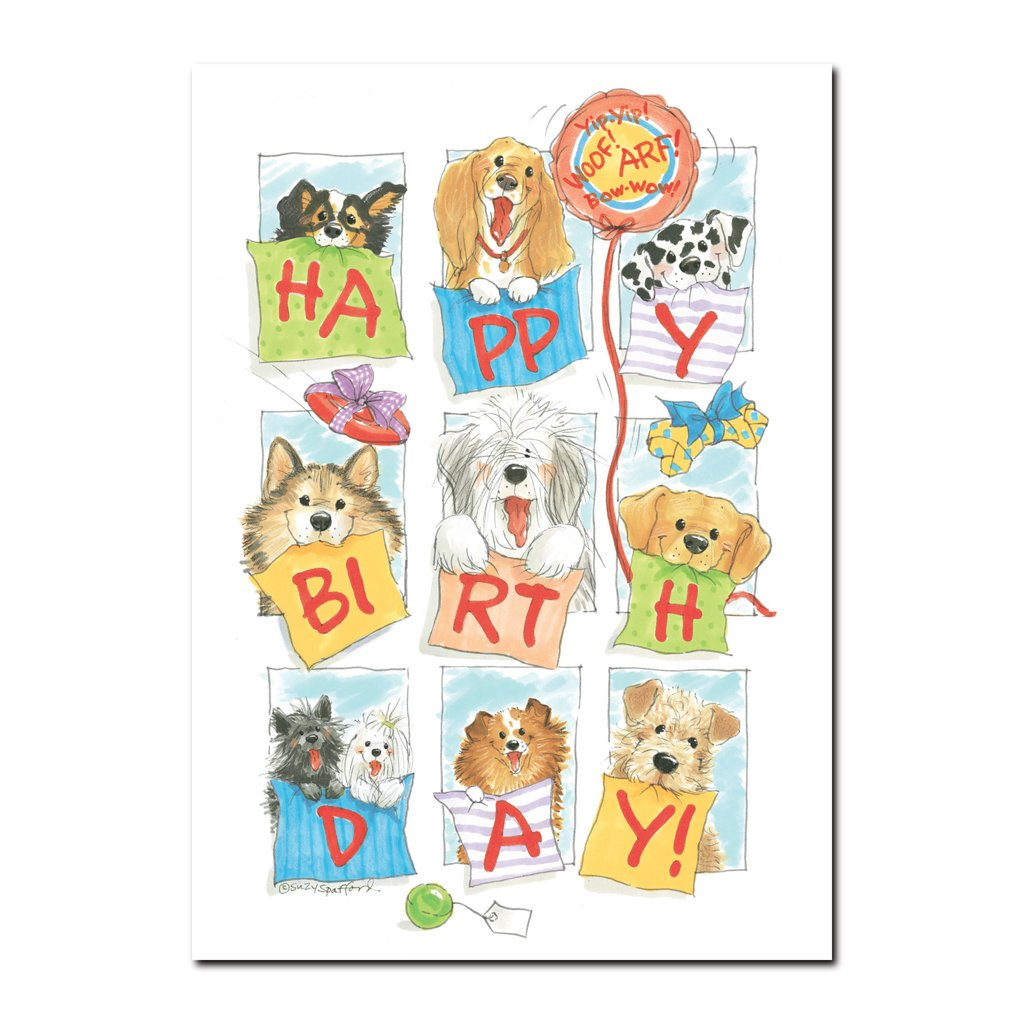 Here are the doggies of Duckport in this Happy Birthday greeting card from Suzy's Zoo, featuring many dog breeds.