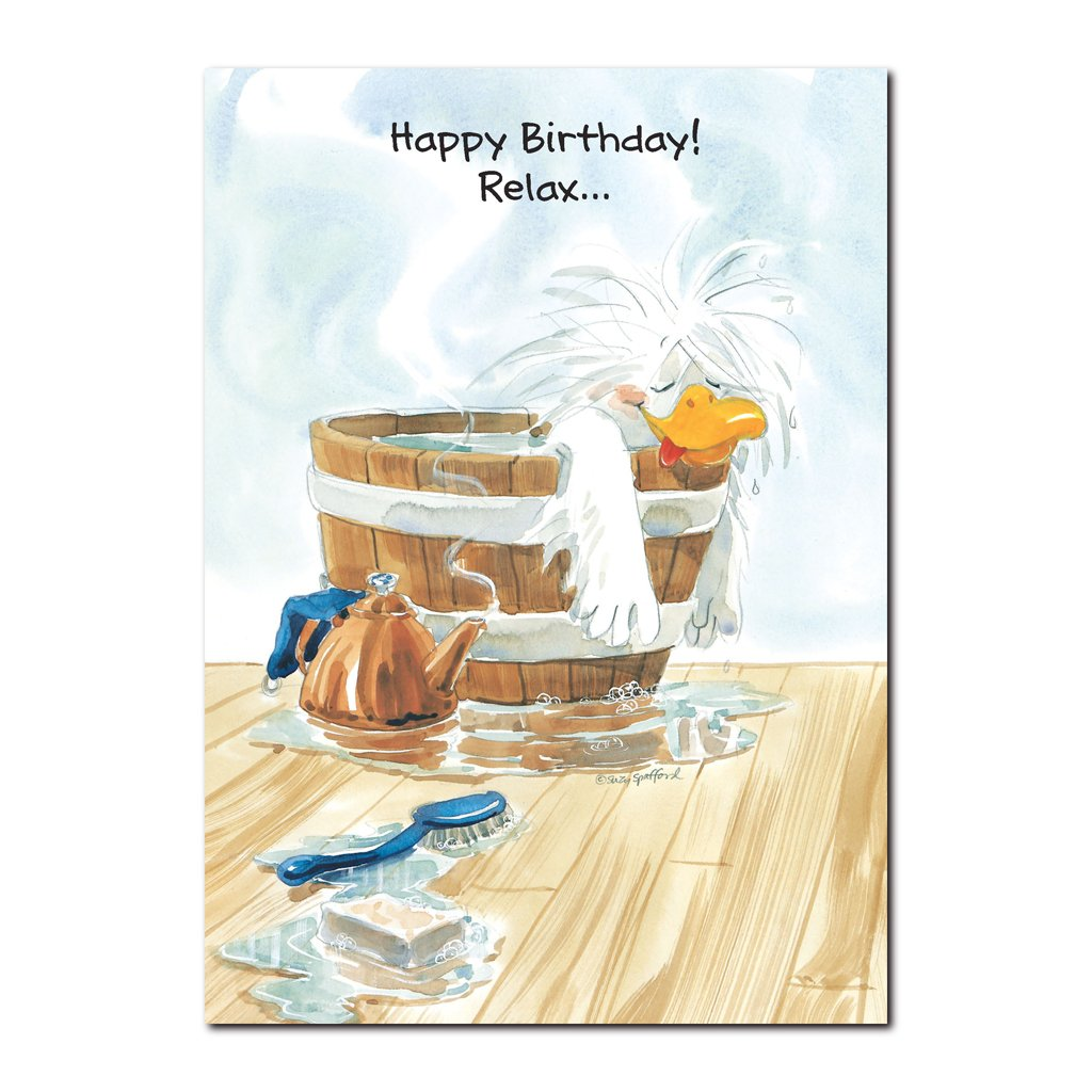 Jack Quacker agrees your birthday is a time to be pampered on this Happy Birthday greeting card from Suzy's Zoo.