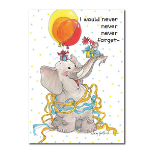 "Herkimer Mouse says, ""Who could ever forget his elephant friend Livingston Widefoot!?"""