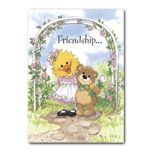 Suzy Ducken and her bear Willie know these flowers carry the message of friendship on this greeting card from Suzy's Zoo.