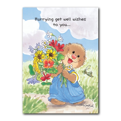 Ollie Flowers Get Well Greeting Card