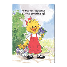 Suzy Ducken picks a bouquet of flowers to let someone know she is thinking of them in this Suzy's Zoo get well card.