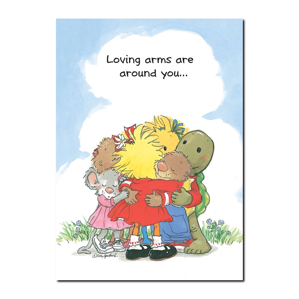 There is much love for all in Duckport, seen with the group hug in this friendship greeting card from Suzy's Zoo.