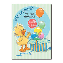 This Happy Birthday greeting card from Suzy's Zoo features Witzy opening up a colorful box full of bright balloons.