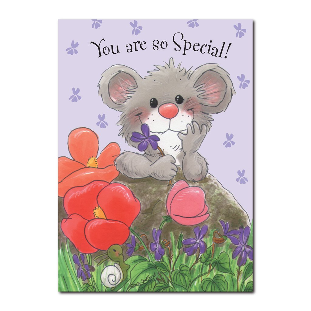 Herkimer has his own special spot in the garden where the violets bloom in this Happy Birthday greeting card from Suzy's Zoo.