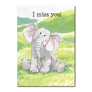 "Livingston can get pretty lonely at times out on the rolling prairies in this ""I Miss You"" friendship card from Suzy's Zoo."