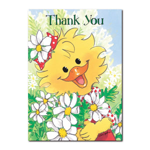 "Suzy Ducken is collecting some ""thank you"" daisies in this thank you greeting card from Suzy's Zoo."