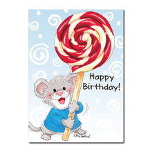Herkimer knows some of the sweetest people and holds a lollipop in this Suzy's Zoo birthday greeting card.