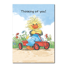 Fritz Quacker loves to go fast on his red wagon in this get well greeting card from Suzy's Zoo.