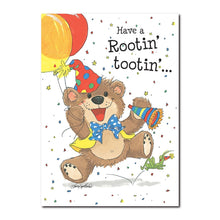 Willie Bear loves to celebrate Rootin' Tootin' birthdays in this happy birthday greeting card from Suzy's Zoo.