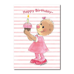 Emily Marmot loves to bake and prides herself in making a very special birthday cupcake in this Suzy's Zoo birthday card.