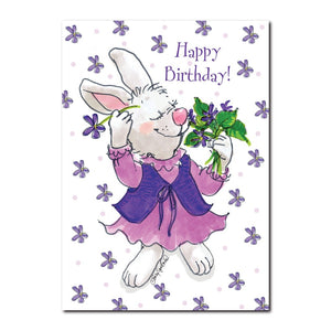 Violet the rabbit loves everything purple in this happy birthday greeting card from Suzy's Zoo.