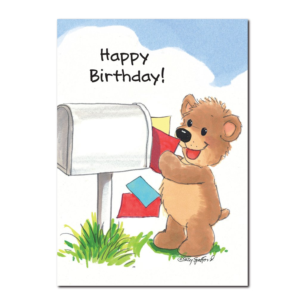 Homer Bear loves to receive mail from friends, especially on his birthday in this Suzy's Zoo happy birthday greeting card.
