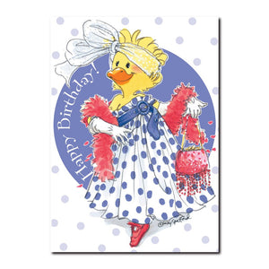 Suzy Ducken loves to play dress up with her sister Sally and friends Emily and Penelope in this Suzy's Zoo birthday card.