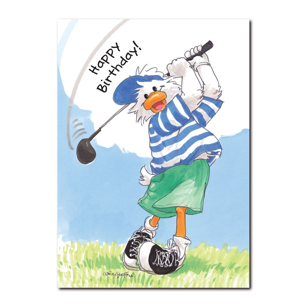 Jack Quacker is a well-coordinated duck who can pick up a golf club and make a perfect shot in this Suzy's Zoo birthday card.