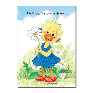 Polly Quacker loves daisies for their simplicity and meaning in this Suzy's Zoo friendship greeting card.