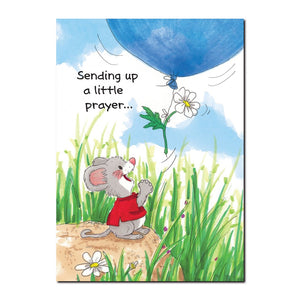 Herkimer is a thoughtful little friend, with his bright blue get well balloon on this Suzy's Zoo get well greeting card.