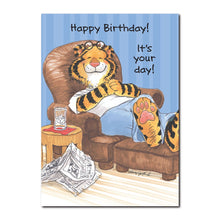Rory Groover is a tiger who grooves on his big, soft easy chair on this Suzy's Zoo happy birthday greeting card.
