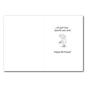 Suzy Red Overalls Birthday Greeting Card