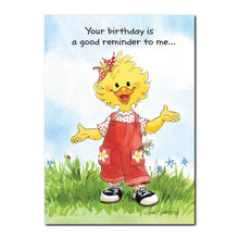 Suzy Ducken is good at remembering special people and dates, standing here in red overalls on this Suzy's Zoo birthday card.