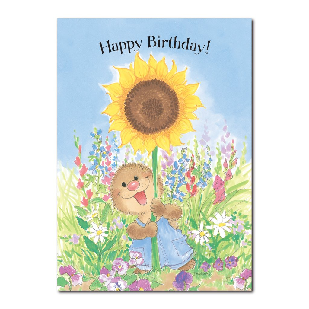 Ollie Marmot loves the BIG sunflowers in the fields near Marmot Manor in this Suzy's Zoo happy birthday greeting card.