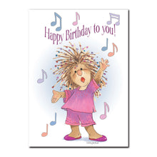 Penelope loves to sing her special rendition of Happy Birthday on this birthday greeting card from Suzy's Zoo.