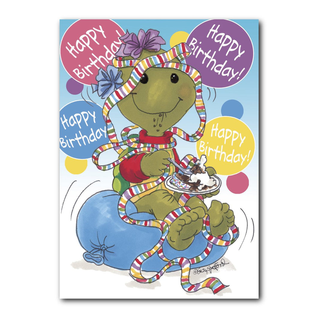 Corky loves birthdays with lots of balloons, streamers, and of course, cake and ice cream on this Suzy's Zoo birthday card.