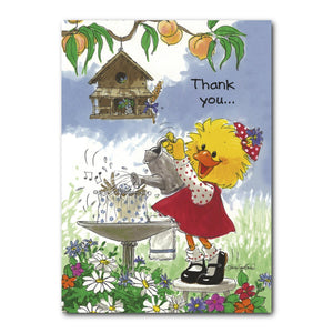 Lucky the sparrow or wren that comes to roost in Suzy Ducken's back yard in this Suzy's Zoo thank you greeting card.