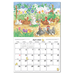 Suzy's zoo wall calendar spread featuring an example of the month of April for our 2020 wall calendar.