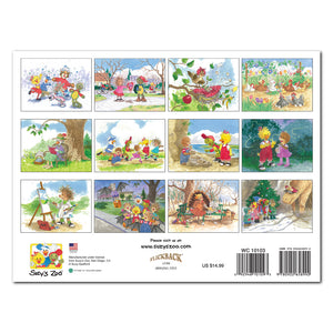 The Suzy's Zoo 2020 Wall Calendar back cover shows all of the months included in this illustrated appointment calendar.