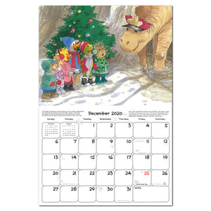 Suzy's zoo wall calendar spread featuring an example of the month of December for our 2020 wall calendar.