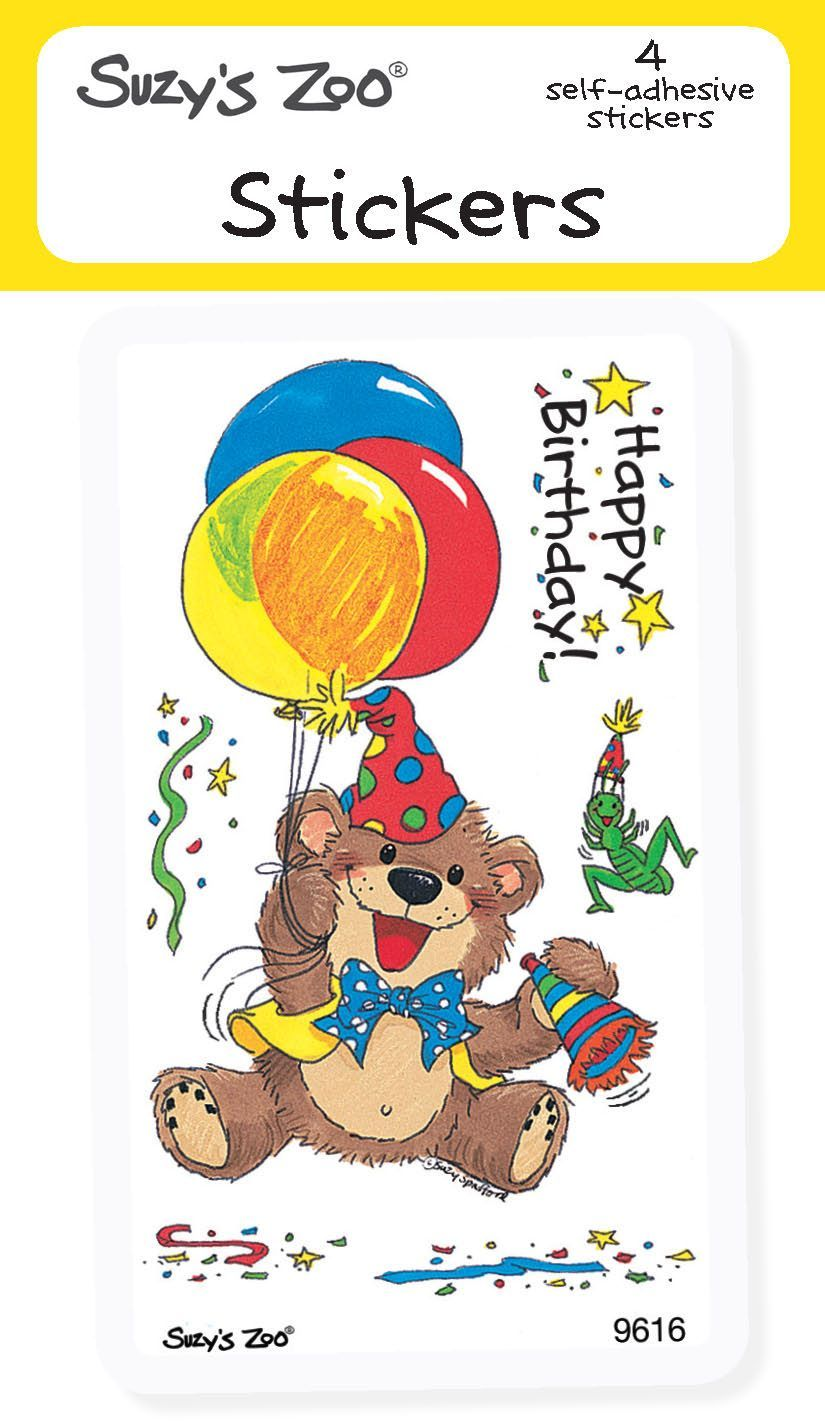 Happy Birthday Bear Stickers (4-pack)