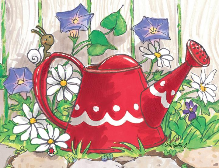 Red Watering Can - Note Cards Set 10870
