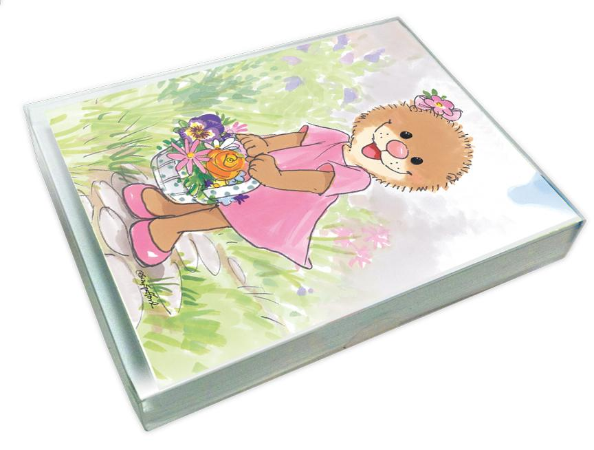 emily in pink note cards set