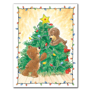 """Decorating Bears"" Christmas Note Cards Set - 10893"