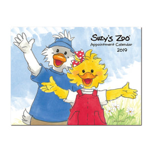 2019 Suzy's Zoo wall calendar is for appointments, birthdays, events, and holidays.