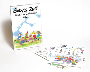 Suzys Zoo 2020 Desktop Calendar with plastic stand and 5x7 cards with at-a-glance view of each month of the year.