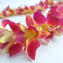 Purple and Gold Dyed Single Orchid Lei